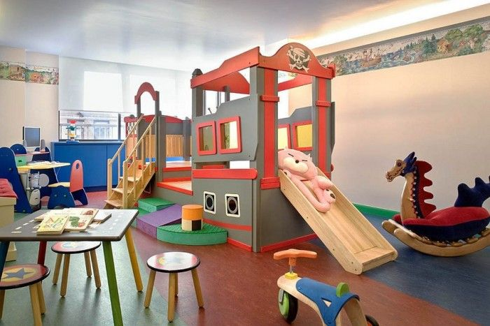 Fascinating Design Ideas You Can Find In Rhapsody Childrenu0027s Beds : Pirate  Fantasy Childs Playroom With Bordered Walls And Dragon Rocking Horse Bedroom  ...
