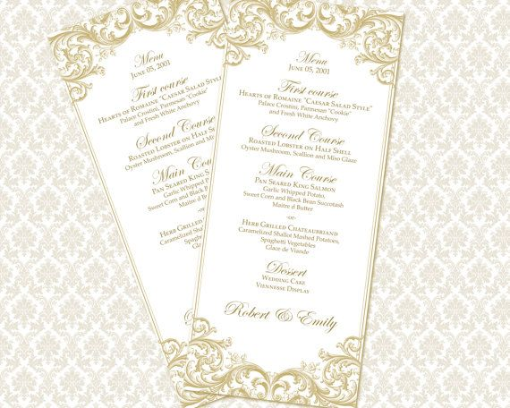 Diy Printable Wedding Menu Template | Printable Menu (Tea Length