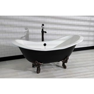 Photo of Black 72-in Cast Iron Slipper Clawfoot Tub (No Faucet Drillings) (Black/Polished Chrome), Kingston Brass