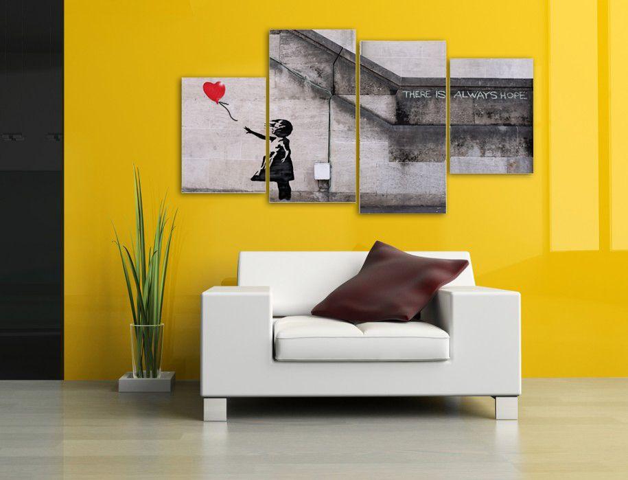 Large Split Panel Banksy Canvas Prints - Balloon Girl 130cm x 65cm ...