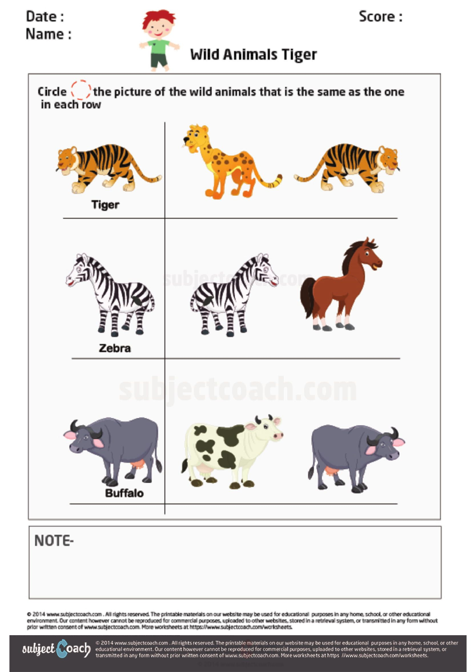 Worksheet Wild Animals Tiger Circle The Picture Of The