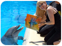 Painting with Dolphins, awesome! (The Mirage, Las Vegas)