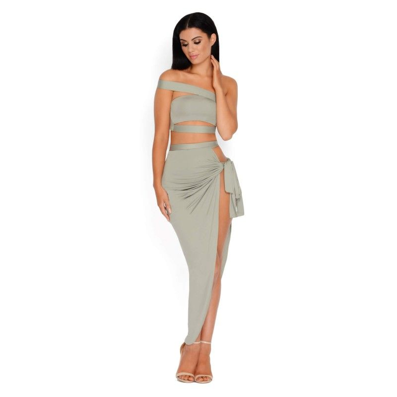 16087037f1147f Cut out crop top and thigh split skirt Khaki two piece - Front View ...