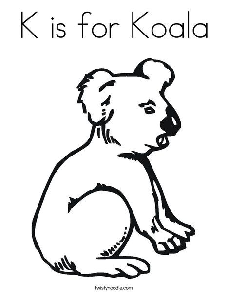 K Is For Koala Coloring Page Twisty Noodle Letter K Pinterest
