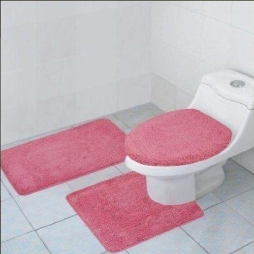3 Piece Quinn Solid Bathroom Accessory Set Bath Mat Contour Rug Toilet Lid Cover Pink Bathroom Rug Sets Bathroom Rugs Pink Bathroom Rugs