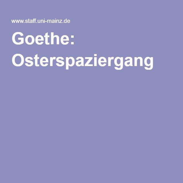 Goethe Osterspaziergang Literaturgedichteosternlehmziegeldeutschland