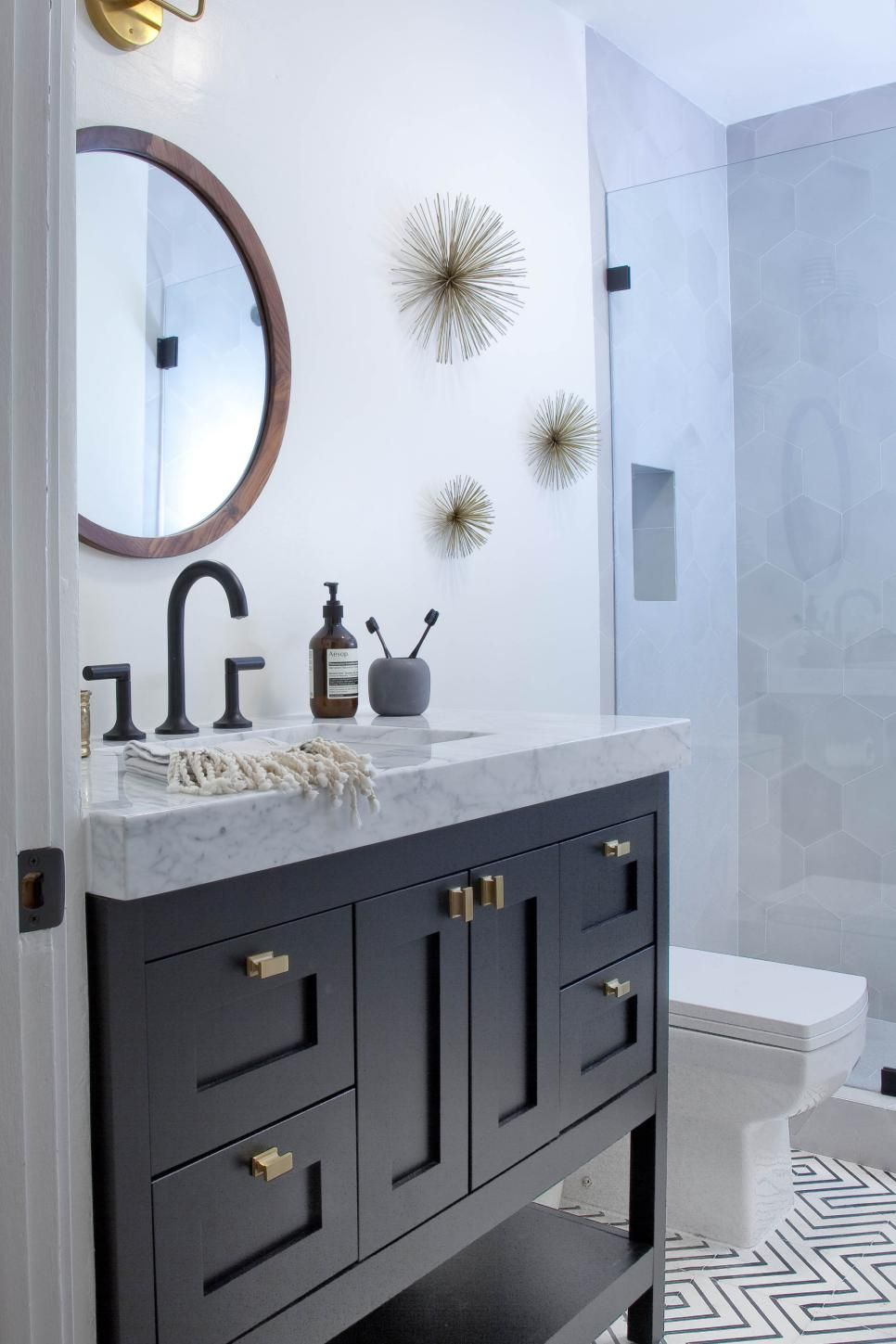 astonishing white bathroom vanity grey tile | Black-and-white tiles in a graphic pattern create style ...