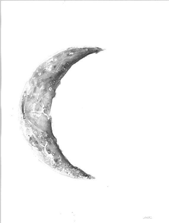 High Quality Watercolor Moon Print Waning Crescent Original Watercolor Moon Crescent Moon Tattoo Moon Tattoo