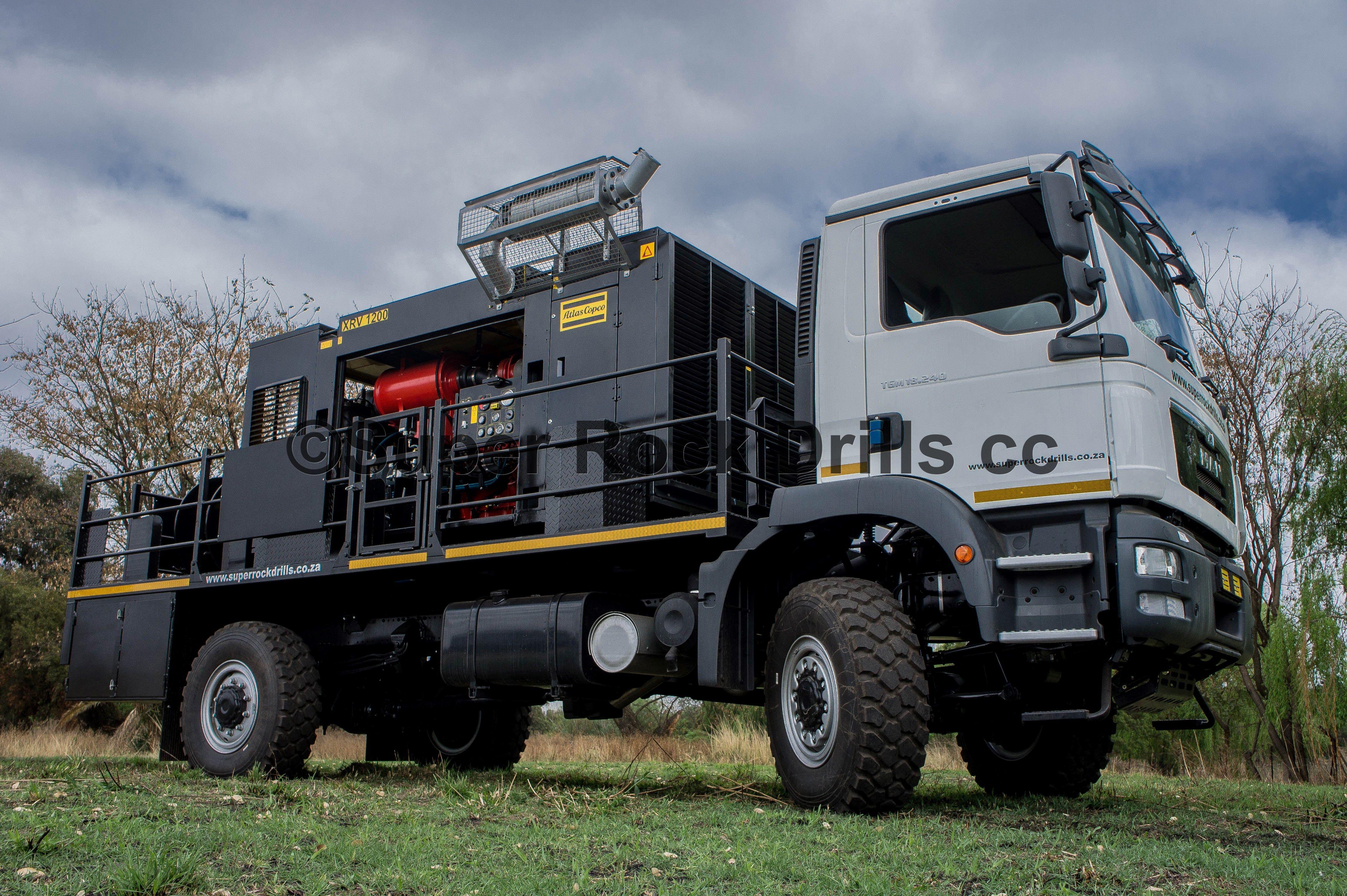 Atlas Copco Compressor Mounted Onto A New Man Truck Drilling Rig Drilling Machine Drill