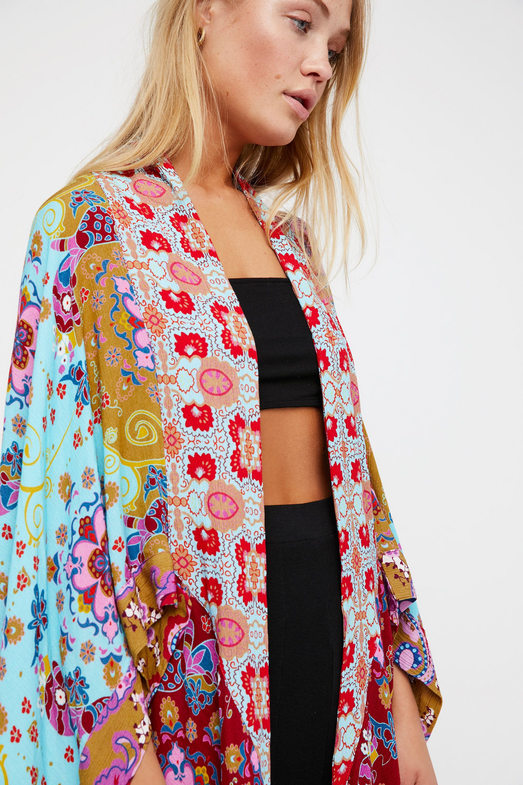 Little Wing Mix Print Kimono Beautiful Mixed Print Kimono Featuring An Effortless Drapey Fit With An Asymmetrical Hem And Back Cutout Details