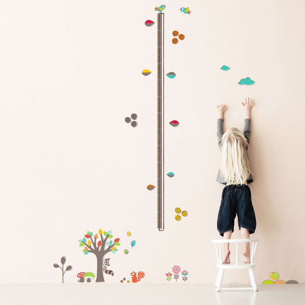Colorful forest tree flower height measure wall sticker for kids colorful forest tree flower height measure wall sticker for kids rooms children growth chart wall decals geenschuldenfo Gallery