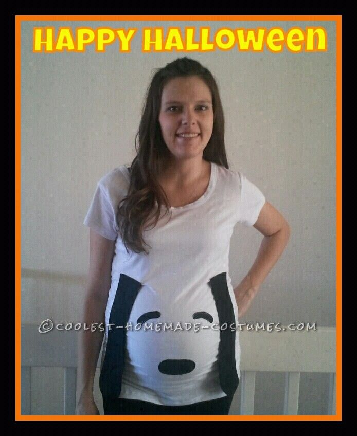 8f100c11c2820 Easy Maternity Snoopy Costume for Under 8 Dollars! | Coolest Homemade  Costumes | Pregnant halloween costumes, Snoopy costume, Pregnant halloween