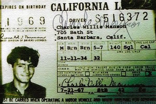 charles manson driver u0026 39 s license