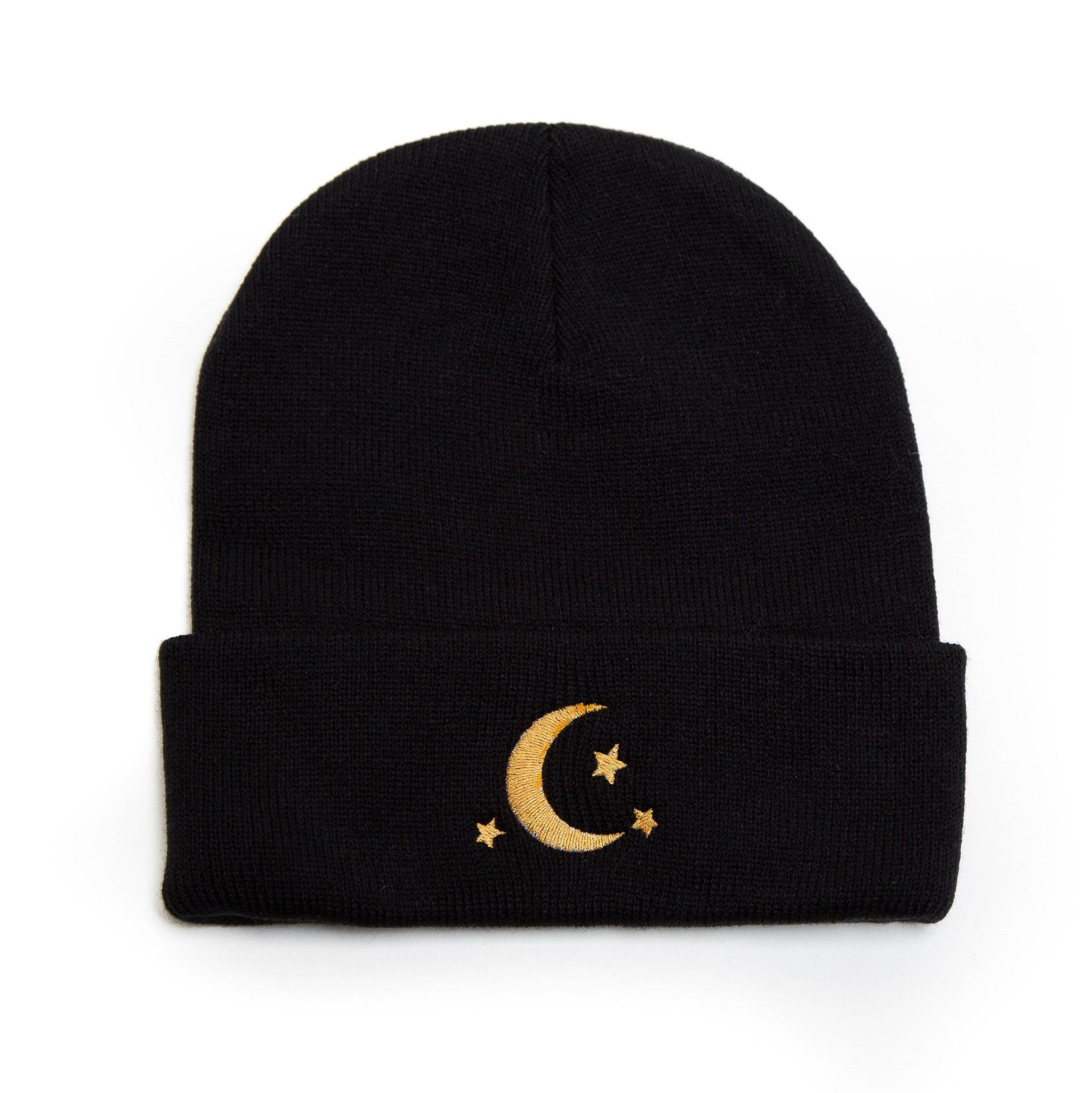 Crescent Moon Stars Embroidered Beanie