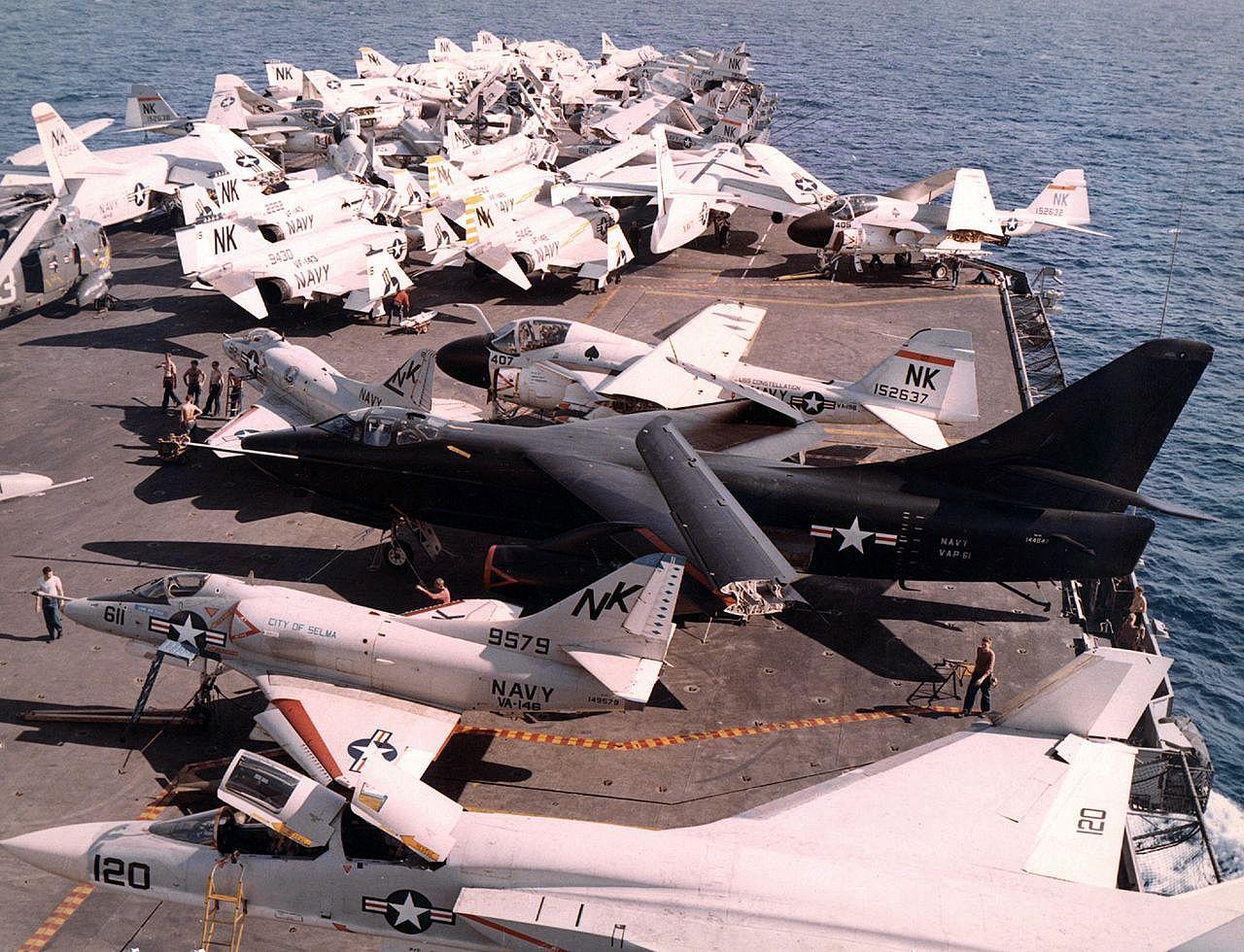 "A-1 Skyraider, A-3 Skywarrior, A-4 Skyhawk, A-5 Vigilante, A-6 Intruder, F-4 Phantom II and a lone SH-3 Seaking aboard the deck of USS Constelation, Vietnam War, 1967. """