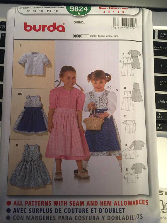 64babf967c2 Burda 9824 Girls Dirndl Dress Pattern Child's Size 2-6 Uncut ...