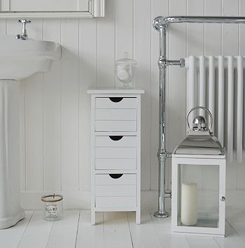 Dorset Narrow White Free Standing Bathroom Storage Furniture With Three Drawers