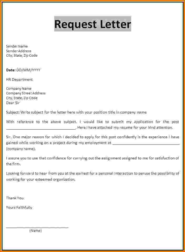 Formal Letter Request Samplequest Templateg Sample Samples