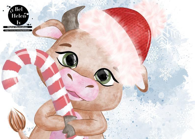 New Year's clip art bull, Cute cartoon bulls set, Cow