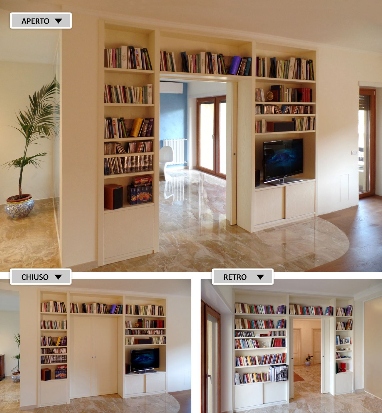 libreria bifacciale realizzata su misura in vero legno