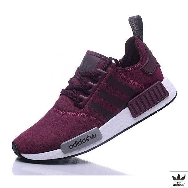 reputable site 281f6 df3ad Adidas NMD R1 Cashmere skin Runner Shoes Red Wine ❤ liked on Polyvore  featuring shoes,
