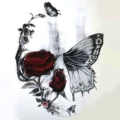 Photo of Image result for half butterfly half skull tattoo