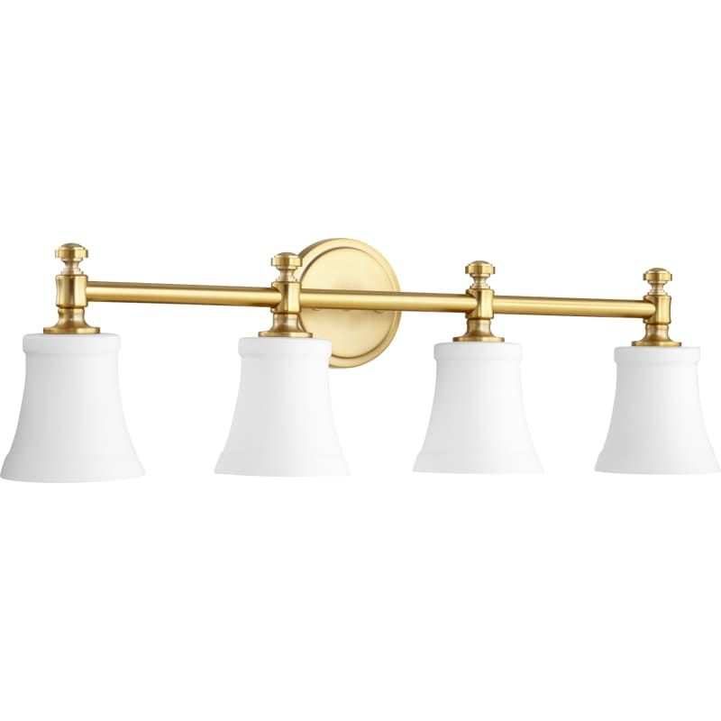Photo of Quorum International 5122-4-80 Aged Brass / Satin Opal Rossington 4 Light 30″ Wide Bathroom Vanity Light with Satin Opal Shade