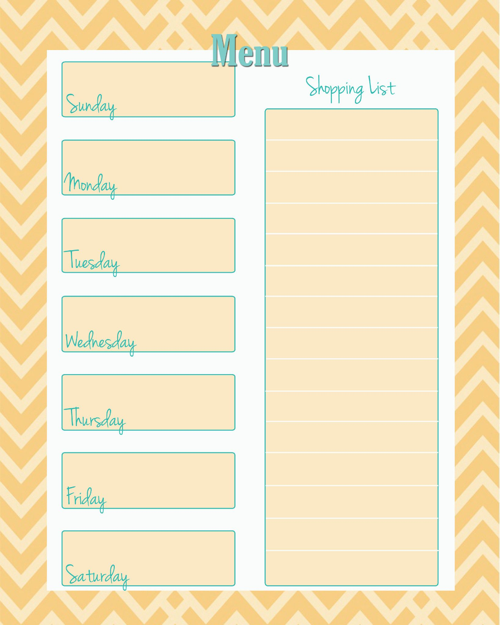 FREE Weekly Menu Planner Printable (4 Colors | Ausdrucken
