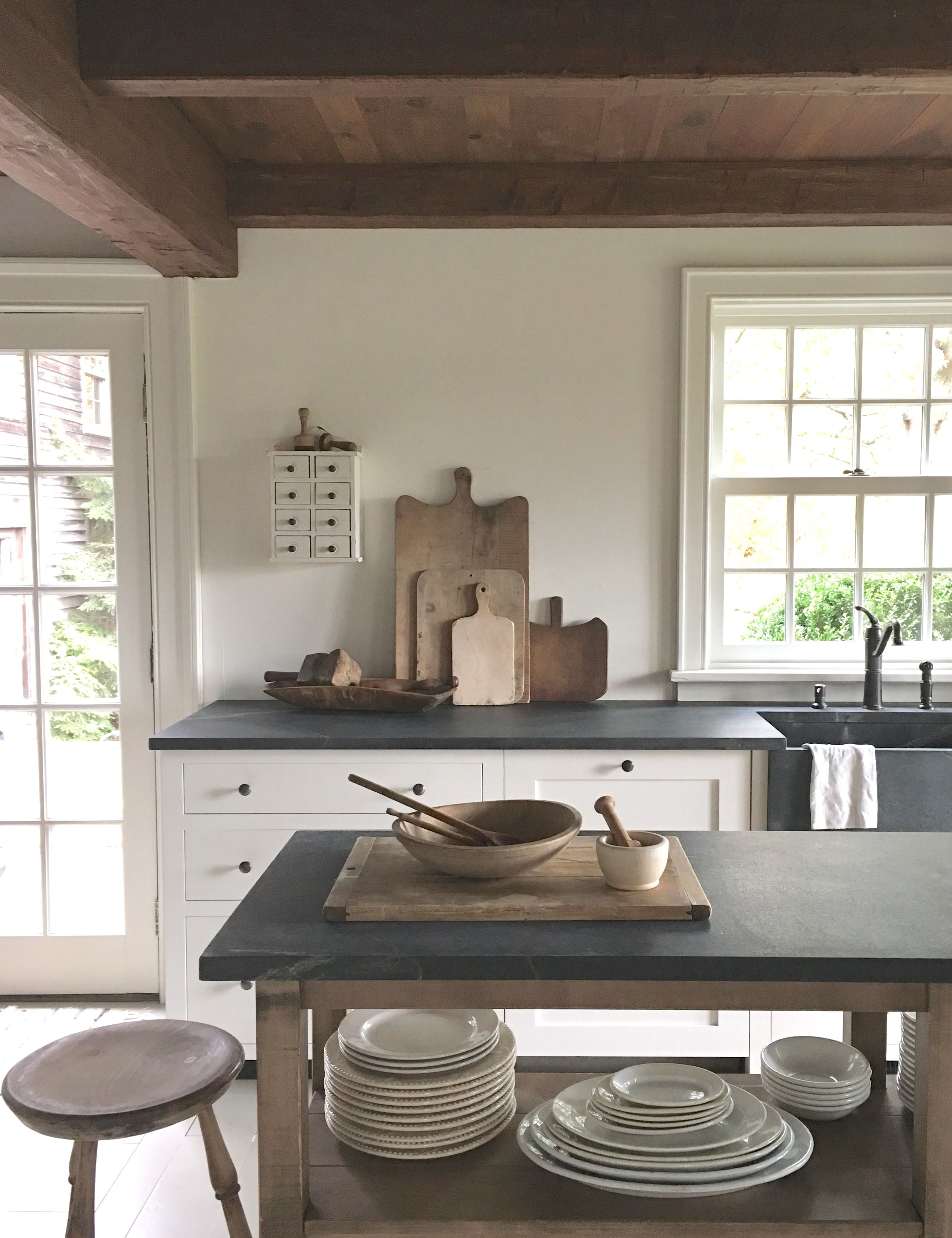 Beautiful and understated cream/ivory kitchen with open, stained ...