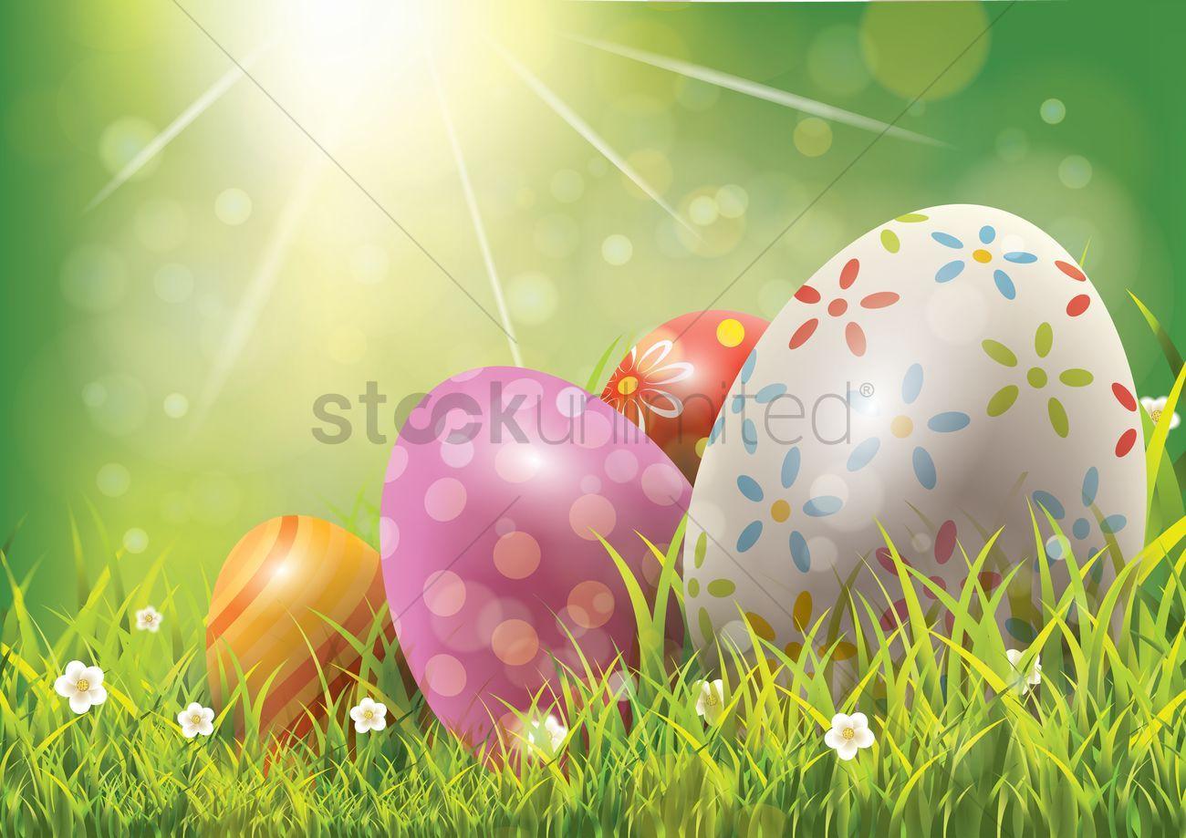 Easter eggs on green grass stock vector