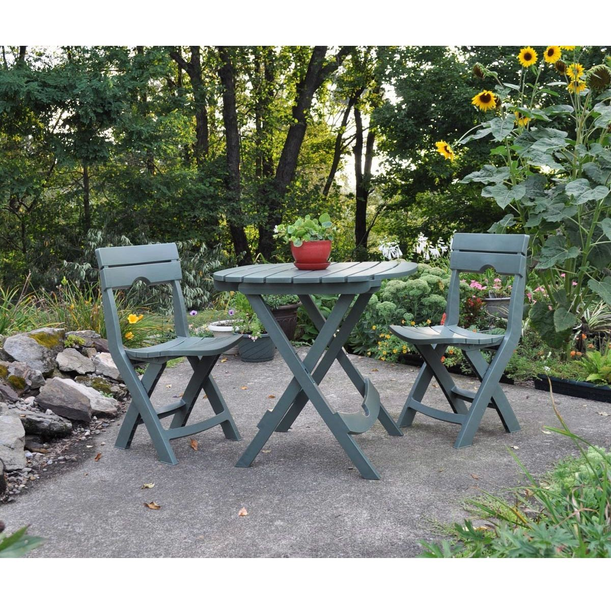 Sage green folding patio dining cafe table in lightweight sturdy