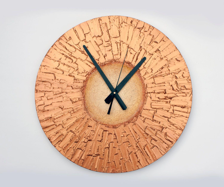 Copper Home Decor Large Wall Clock Unique Art Clock Copper Office Decor Large Wall Clock Wall Clock Unique Wall Clocks