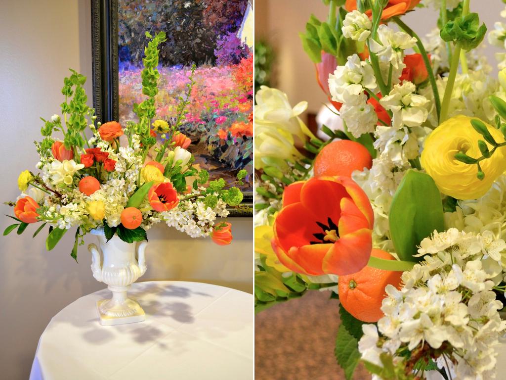 Classic white green orange yellow urn wedding flower arrangement classic white green orange yellow urn wedding flower arrangement utah florist calie rose mightylinksfo