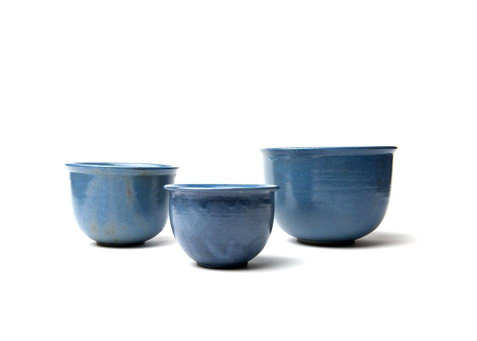 Blue Ceramic Mixing Bowls (Set of 3) by Prescraft | Story Company