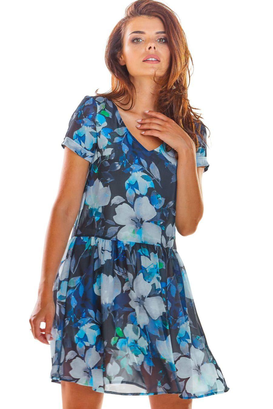 Zwiewna Sukienka W Kwiaty Granatowa Aw298 Fashion Casual Dress Dresses
