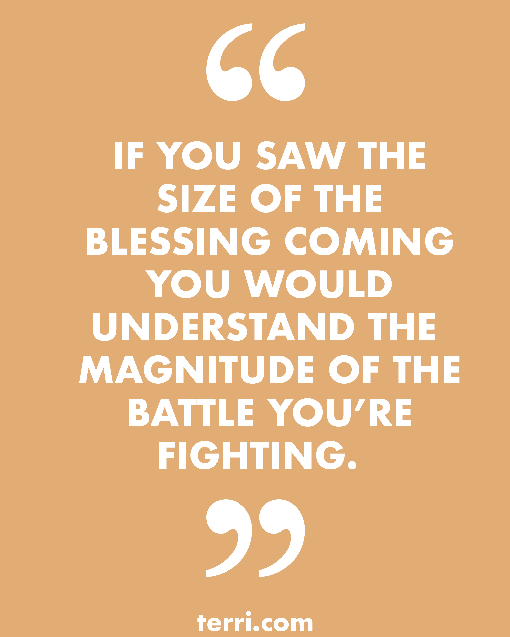 Life Size Quotes: IF YOU SAW THE SIZE OF THE BLESSING YOU WOULD UNDERSTAND