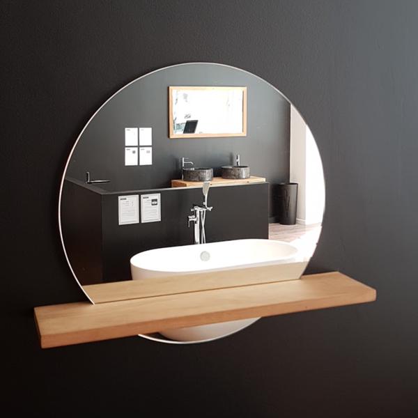 Espejo 60cm bali redondo con repisa de madera teca en - Espejos redondos para banos ...