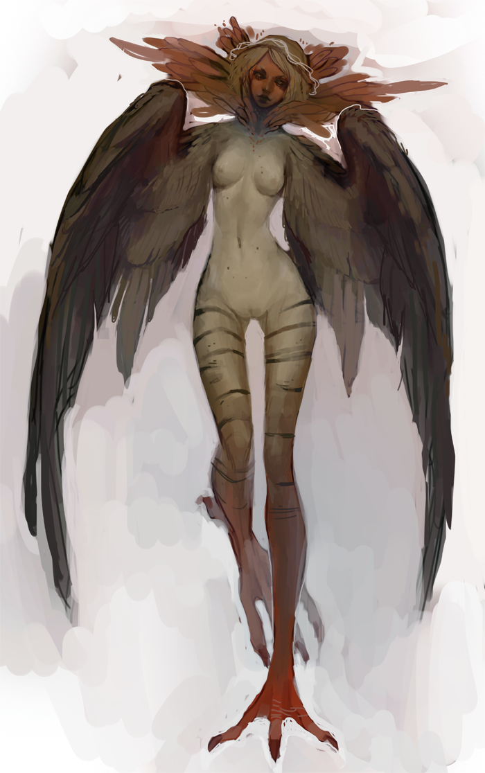 harpies by chaotic muffin female harpy monster beast creature animal