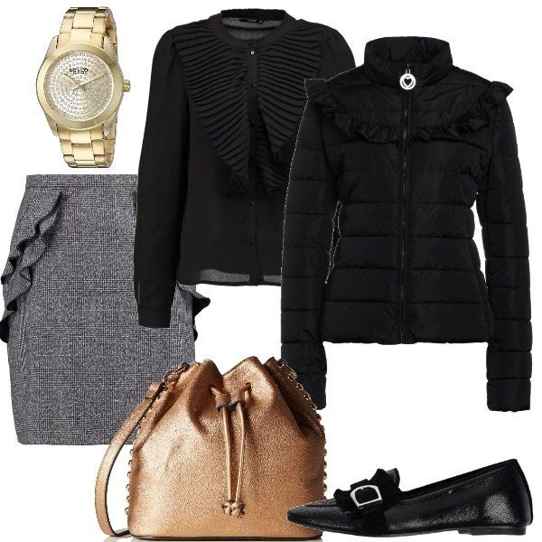 ufficioGonna campana tutti Outfit per grigia e adatto a i giorni a Ajq543LR