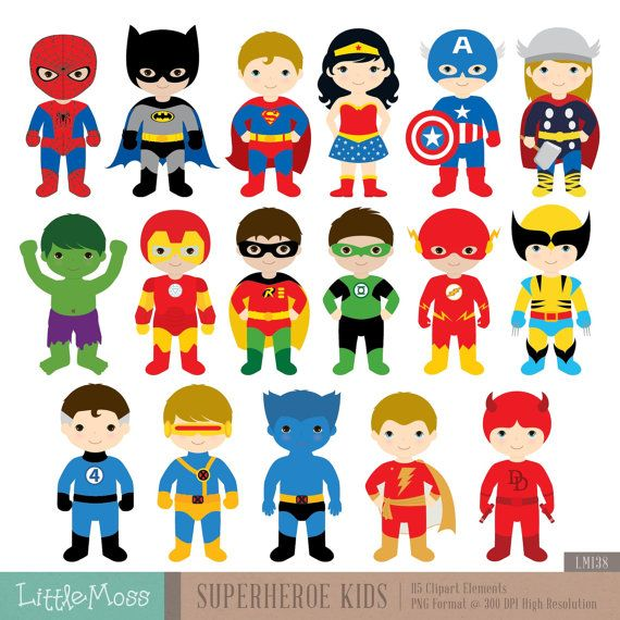 Superhero Art For Little Boys: 17 Superheroes Characters Digital Clipart, Superhero