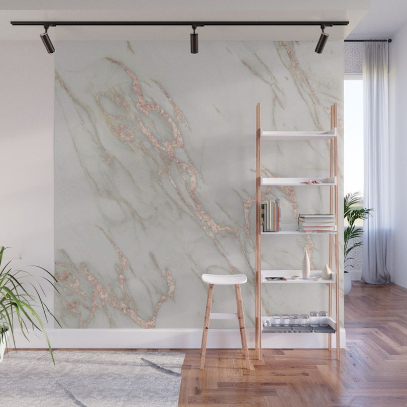 Give Your Home A Bold Accent Wall With Society6 S New Peel Stick Wall Murals Marble Wall Mural Marble Wall Wall Patterns