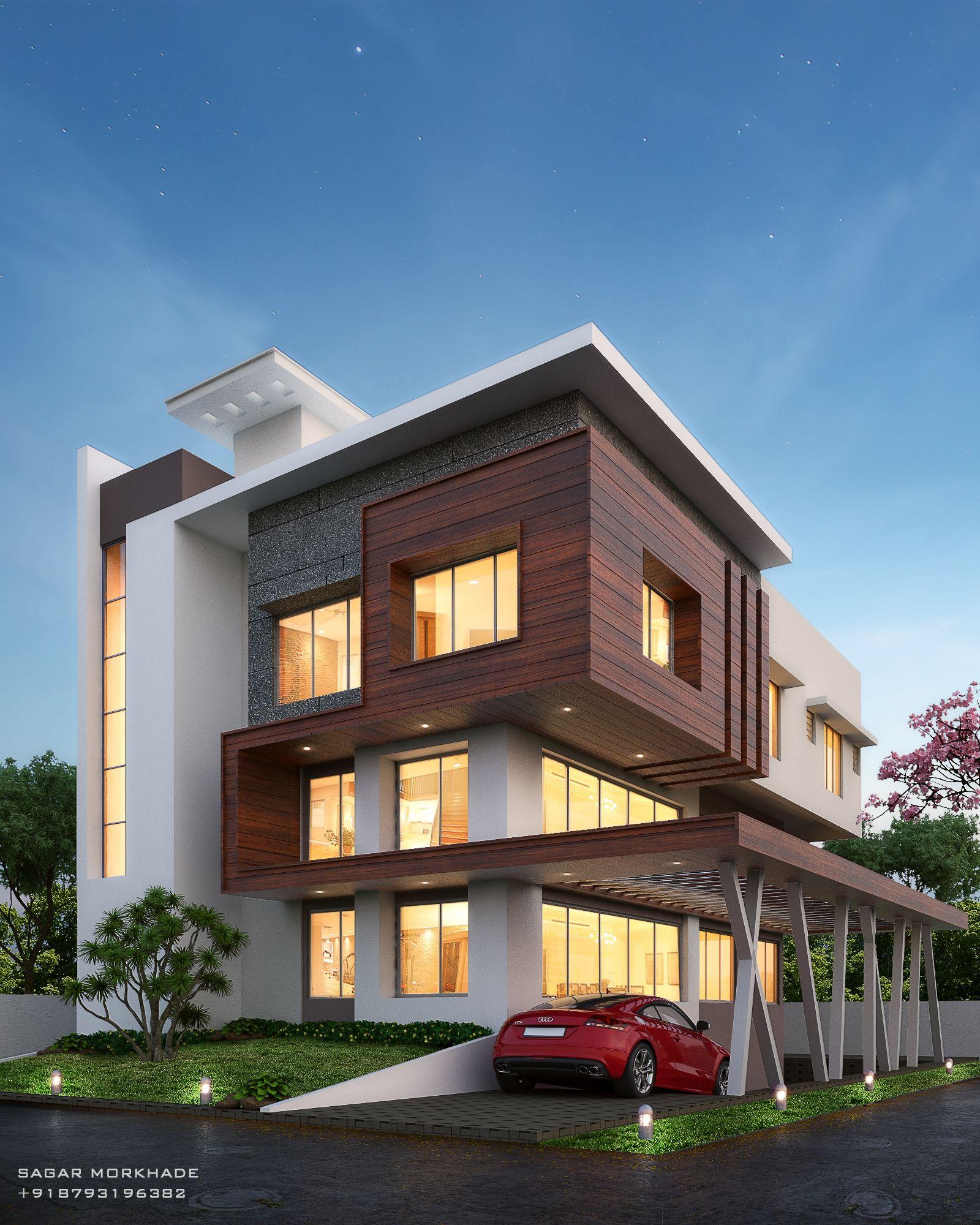 Modern House Exterior Elevation By Sagar Morkhade Vdraw