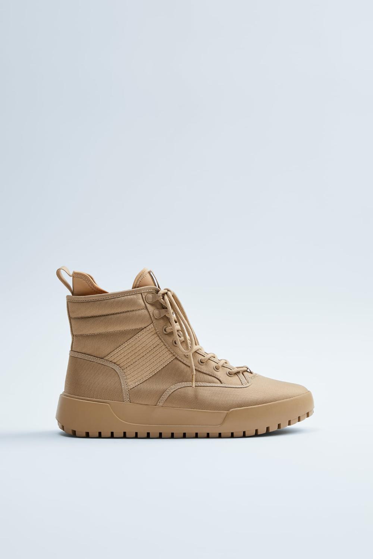 Tekstylne Trzewiki Sportowe W Stylu Trekkingowym Zara Polska Zara High Top Sneakers Fashion Socks