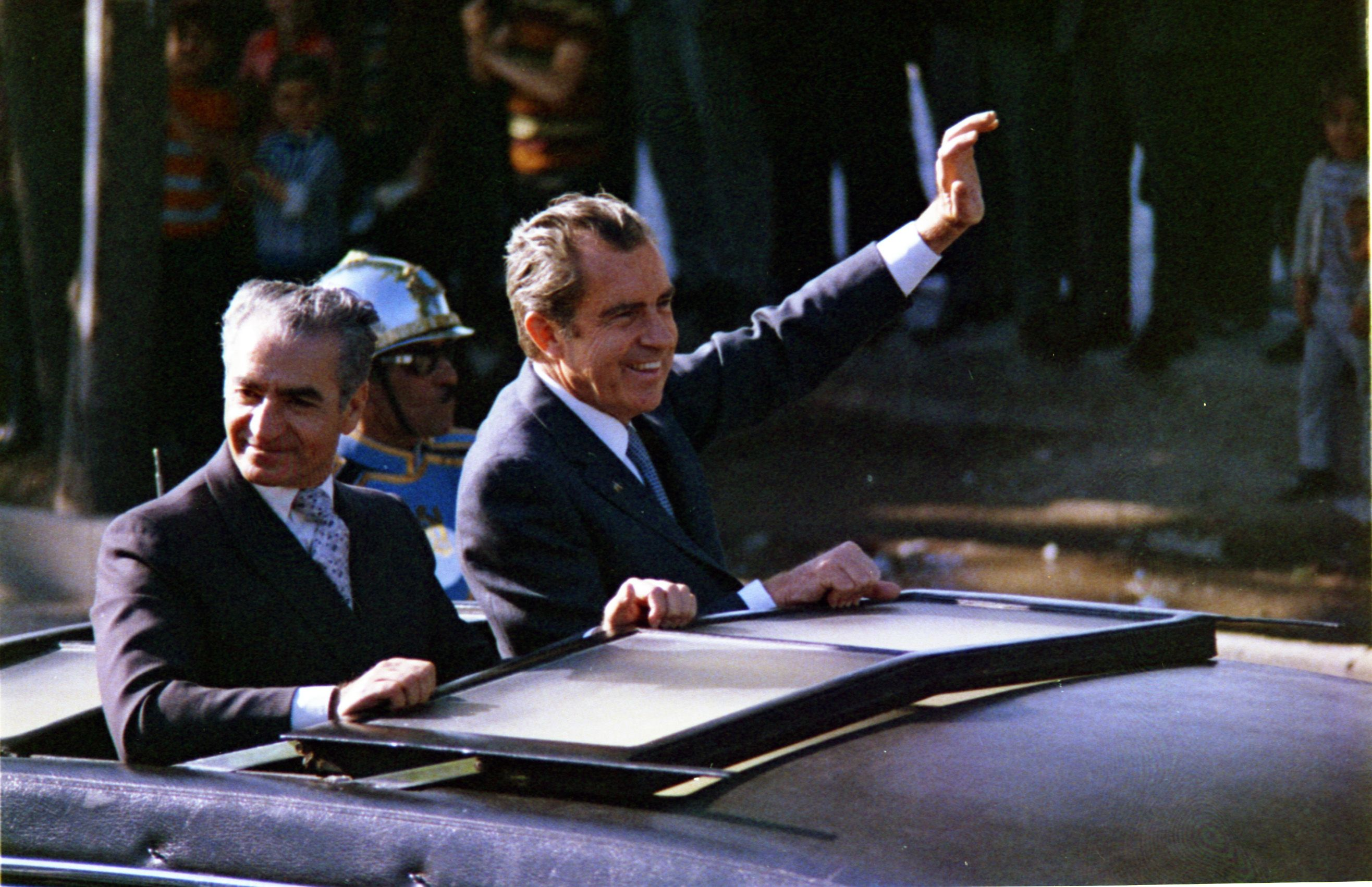 The Shah Of Iran Mohammad Reza Pahlavi And President Nixon Greeting