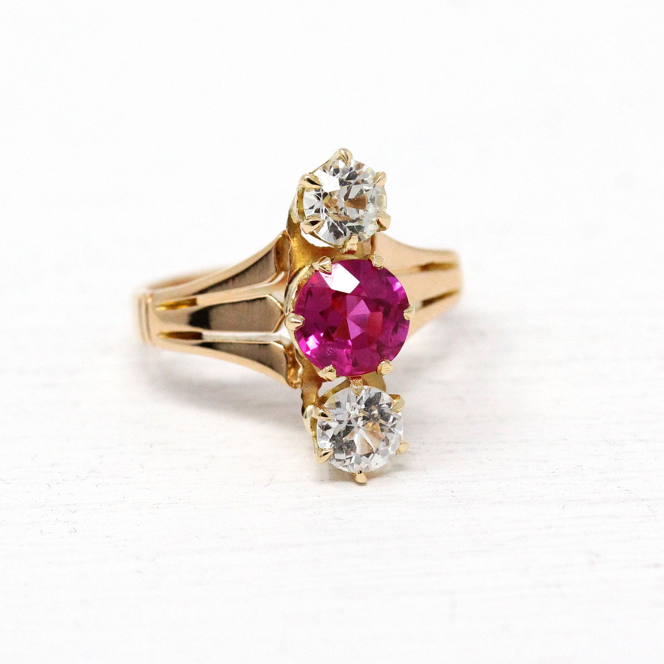 2594b9e71 Created White Sapphire & Ruby Ring - Antique Edwardian 14k Rosy Yellow Gold  Statement - Size