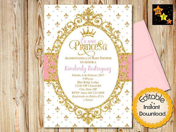 Spanish Princess Baby Shower Invitation Girl White Pink And Etsy Baby Girl Shower Invitations Pink Baby Shower Princess Baby Shower Invitations