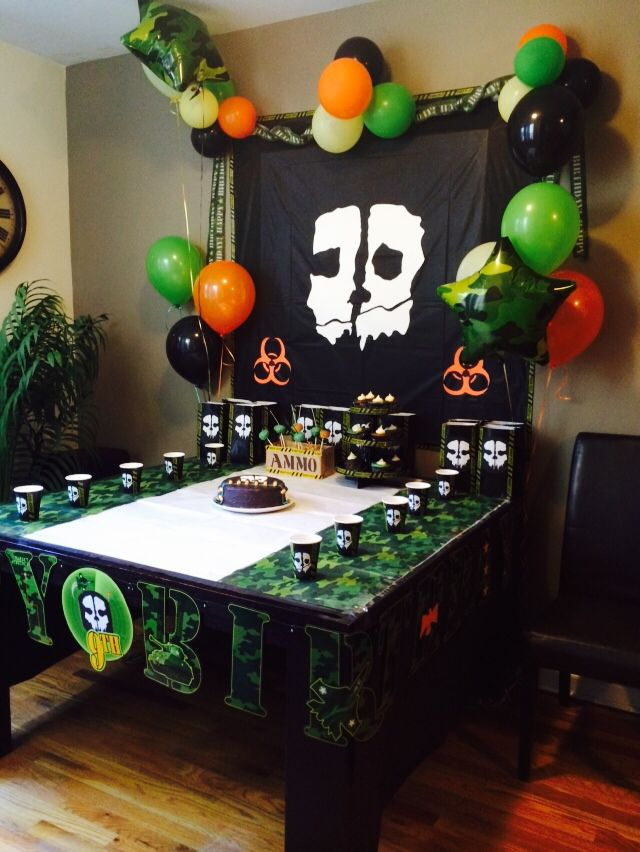 Homemade Call Of Duty Ghosts Birthday Decorations
