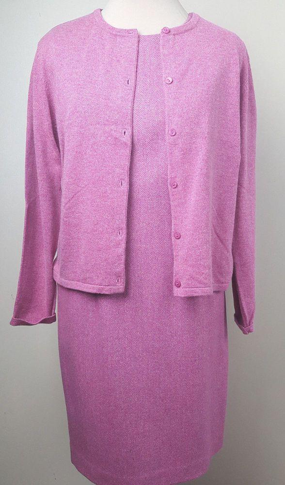 Talbots Petites raspberry pink wool blend herringbone tweed jumper cardigan 12 #Talbots #Jumper #WeartoWork