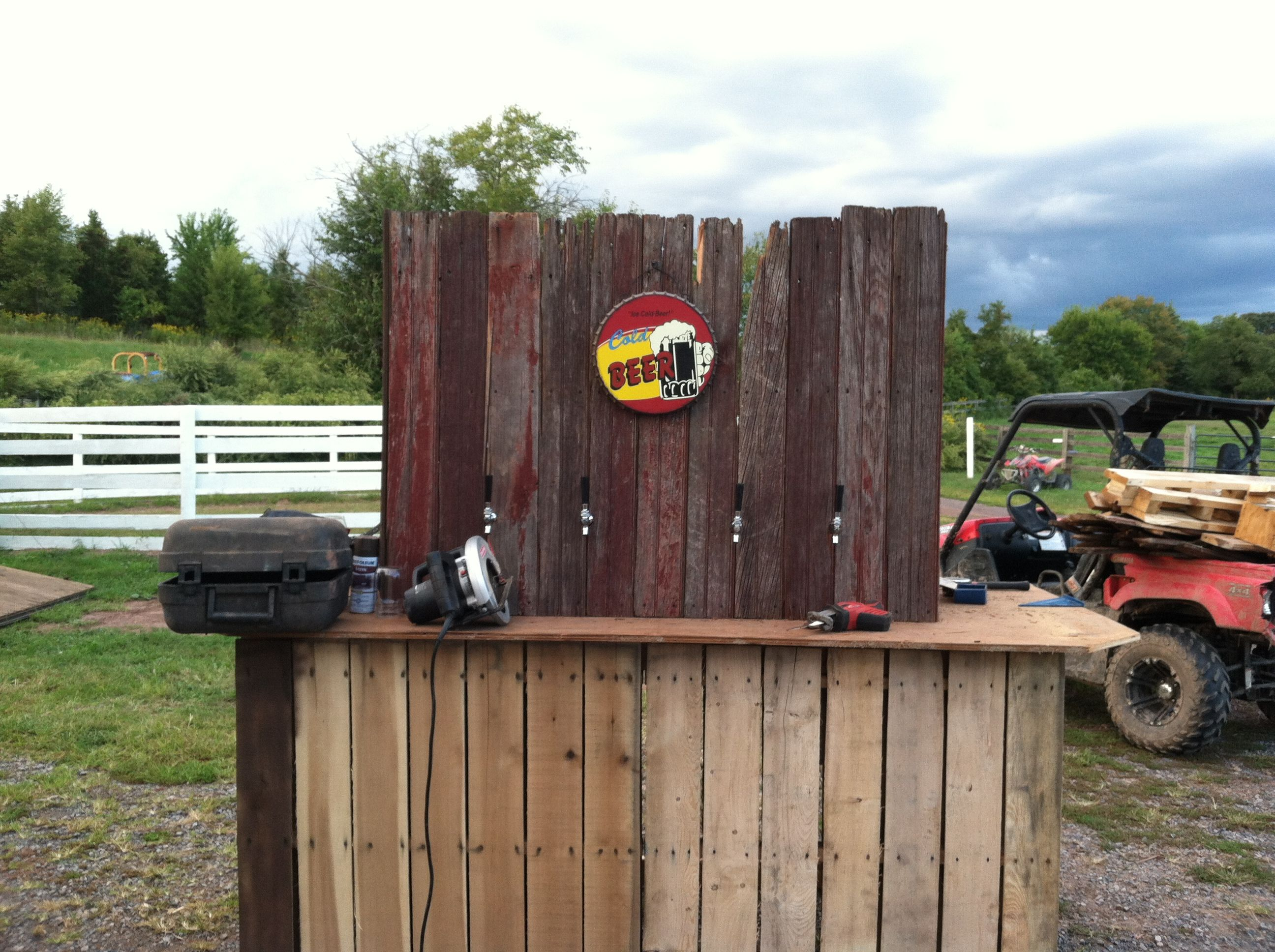 Bar Made Out Of Pallets Homemade Beer Bar Made Out Of Pallets And Old Barn Wood Stuff