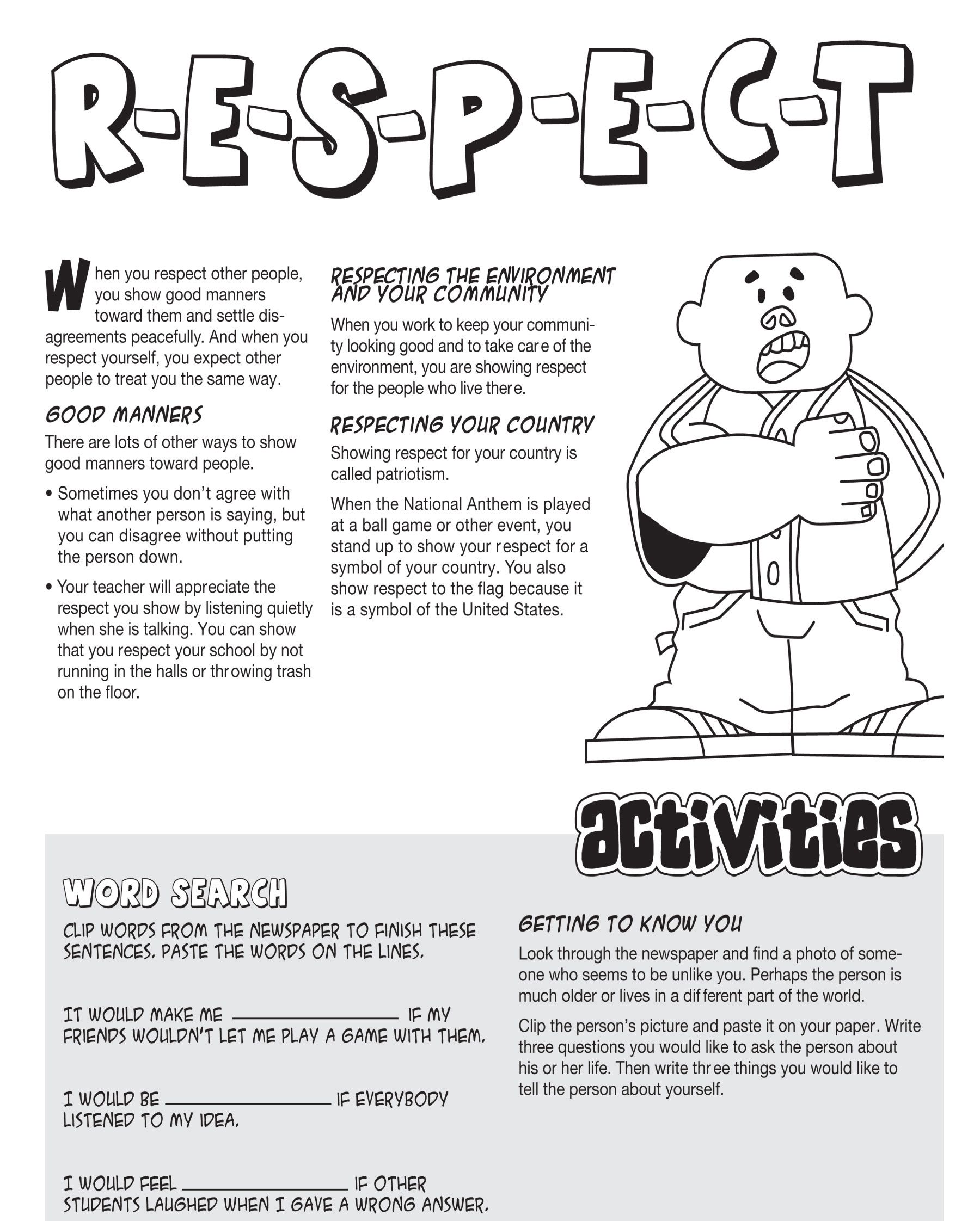 Respect an essential part of your life skills tool kit – Worksheets on Respect
